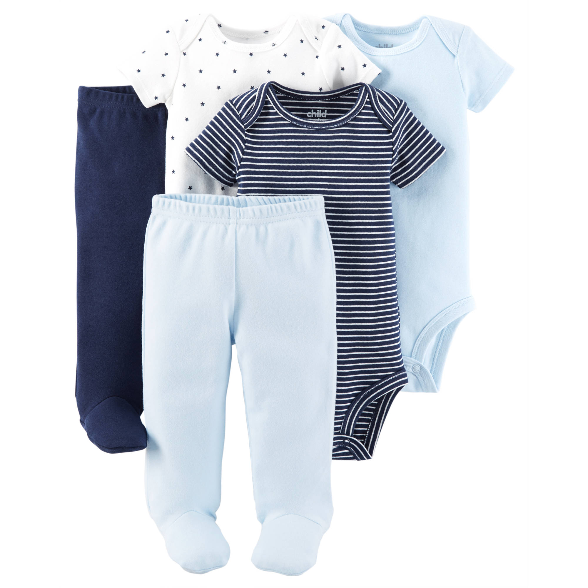 Child Of Mine by Carter's Newborn Baby Boy Bodysuits and Footed Pants, 5-Piece Set