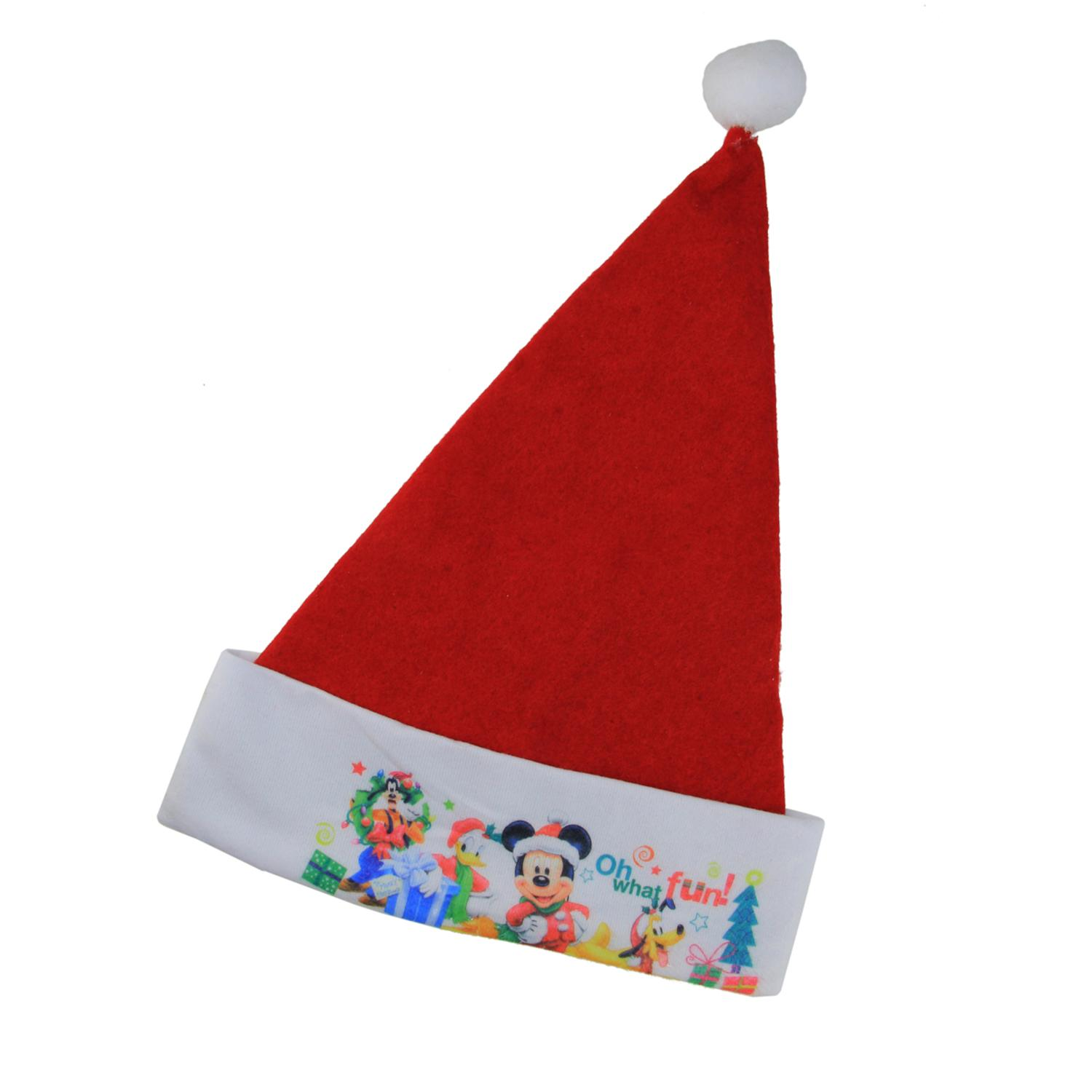 """17.5"""" Disney Mickey Mouse """"Oh What Fun!"""" Red Christmas Santa Hat with White Trim"""