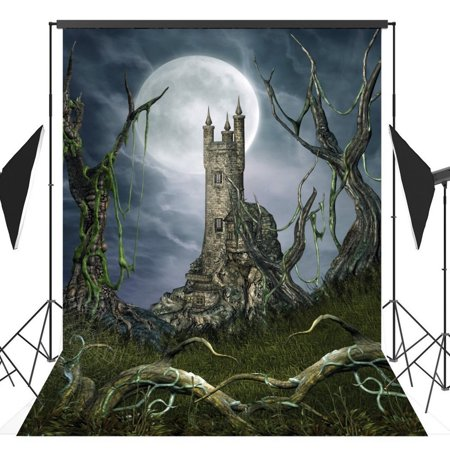 Halloween Horror Nights Backgrounds (GreenDecor Polyster 5x7ft Halloween Horror Nights Moon Mysterious Castle Costume Party Masquerade Series Photo Backdrops Studio Background Studio)