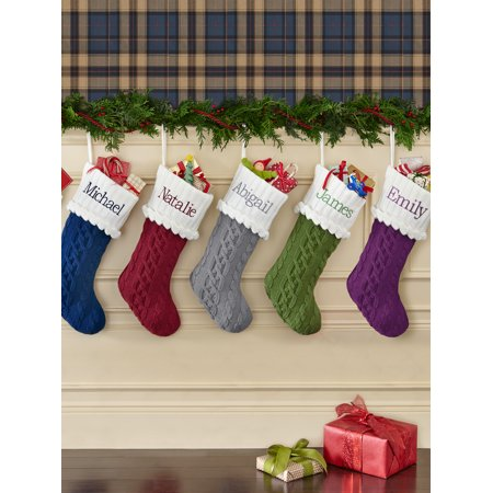 Personalized Cozy Cable Knit Personalized Christmas Stocking-Gray-Available in 5 Colors - Personalized Stocking