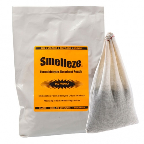 SMELLEZE Reusable Formaldehyde Odor Remover Deodorizer Pouch: Rids Chemical Smell Without Scents in 300 Sq. Ft.