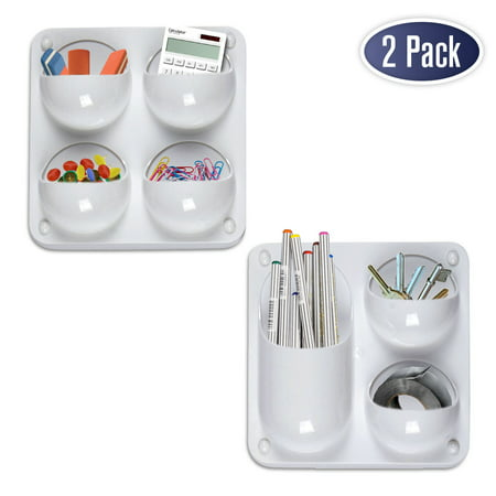 Wall Storage Magnetic Organizer Caddy - Self Adhesive with Multiple Mounting Options. Store Pens, Pencils, Sticky Notes and Other Supplies for Office, Kitchen, Refrigerator, Locker, Cubicle, and