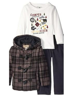Kids Headquarters Infant Boys 3 Piece Camp Shirt Pants & Hooded Jacket