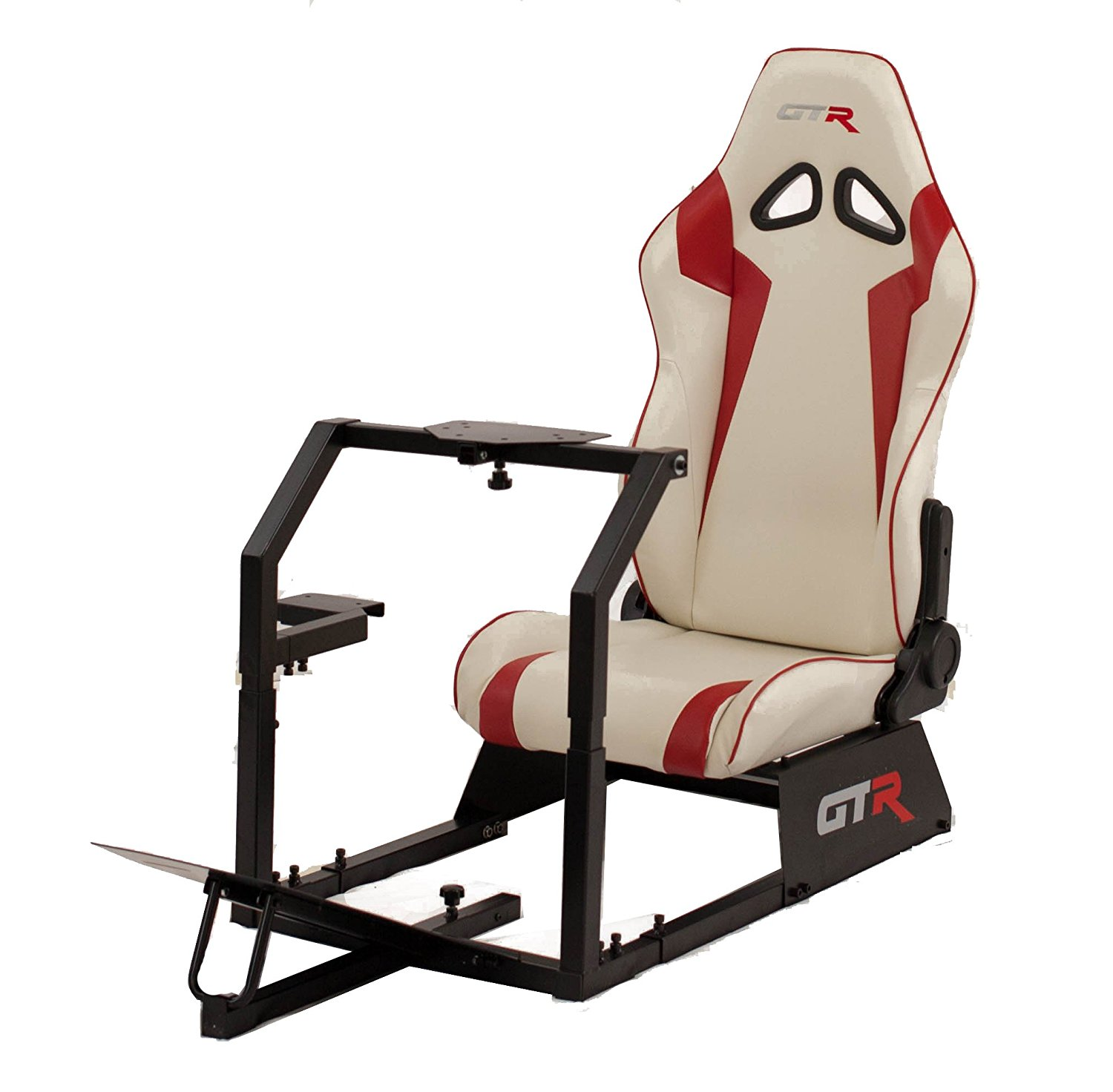 GTR Racing Simulator GTA-BLK-S105LWHTRD GTA 2017 Model Black Frame with White/Red Real Racing Seat, Driving Simulator Cockpit Gaming Chair with Gear Shifter Mount