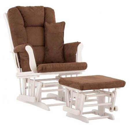 Storkcraft tuscany glider and ottoman with lumbar pillow for Stork craft tuscany glider rocking chair ottoman