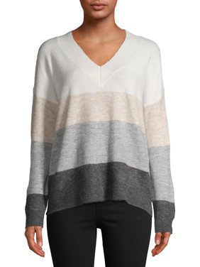 Dreamers by Debut Women's Striped V-Neck Sweater
