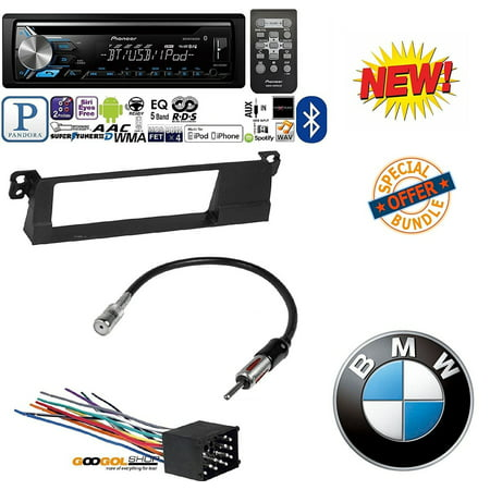 American Dash Trim - Pioneer DEH-X3900BT Vehicle CD Digital Music Player Receivers W/ 99-01 E46 3-SERIES CAR STEREO RADIO KIT DASH INSTALLATION TRIM W/ WIRING HARNESS AND ANTENNA