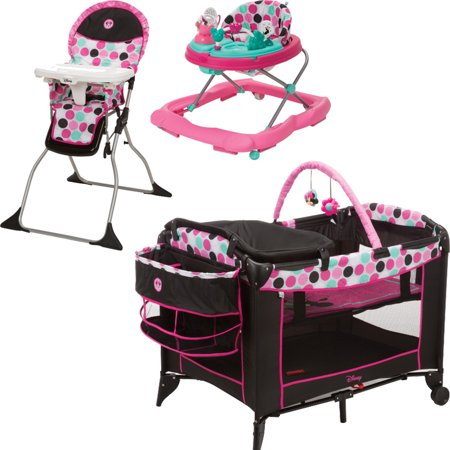 Disney Minnie Dottie Playard, Walker, and High Chair Value Set