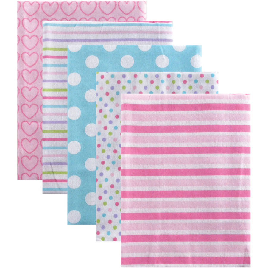 Luvable Friends Receiving Blankets Flannel, 5pk, Pink Stripes