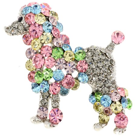 Multicolor Poodle Crystal Animal Pin
