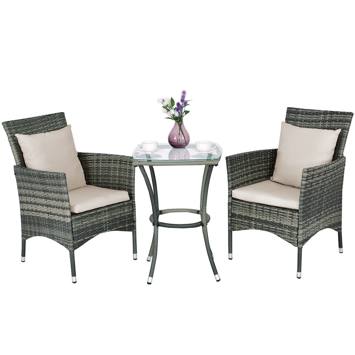 Goplus 3PCS Patio Rattan Furniture Set Chairs & Table Garden Coffee by Costway