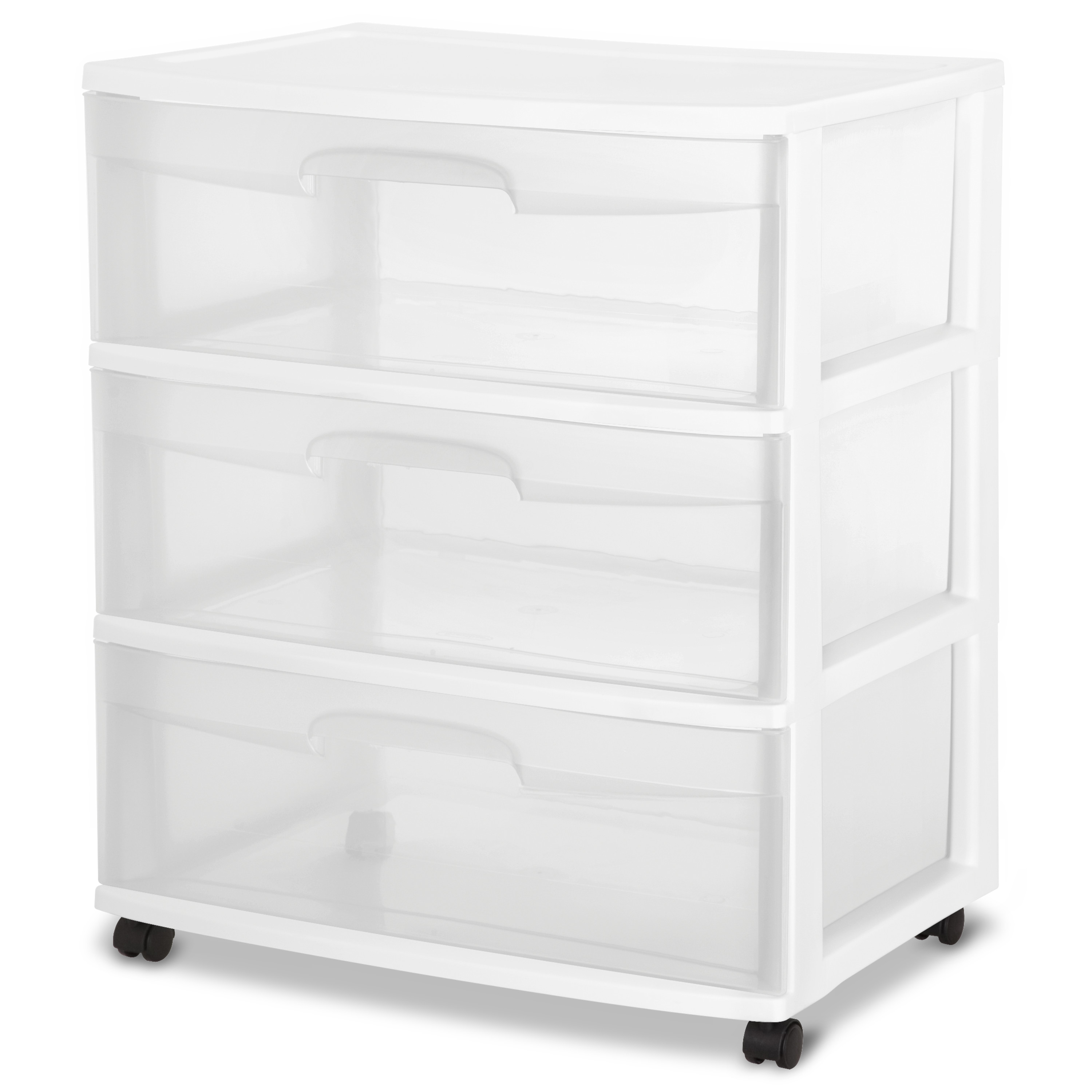 Sterilite 3 Drawer Wide Cart, White - Walmart com