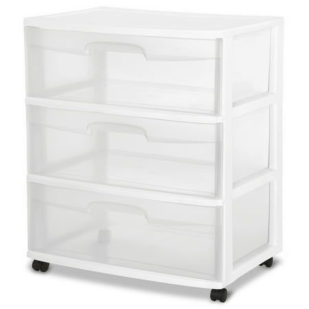 Sterilite 3 Drawer Wide Cart, White ()