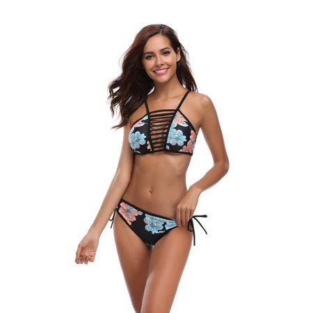 Women Flower Swimwear Bikini Bathingsuit Triangle Swimsuit Bandage Tankini Beach