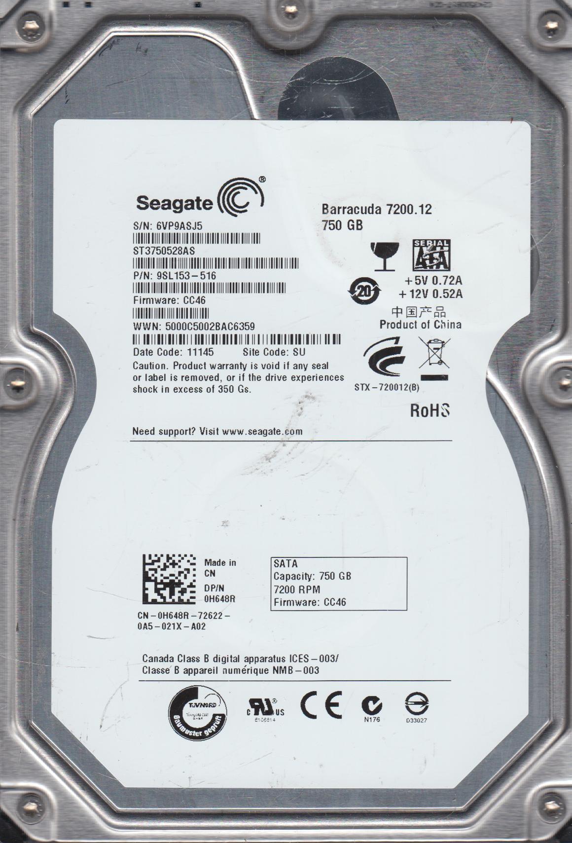ST3750528AS, 6VP, SU, PN 9SL153-516, FW CC46, Seagate 750GB SATA 3.5 Hard Drive by Seagate
