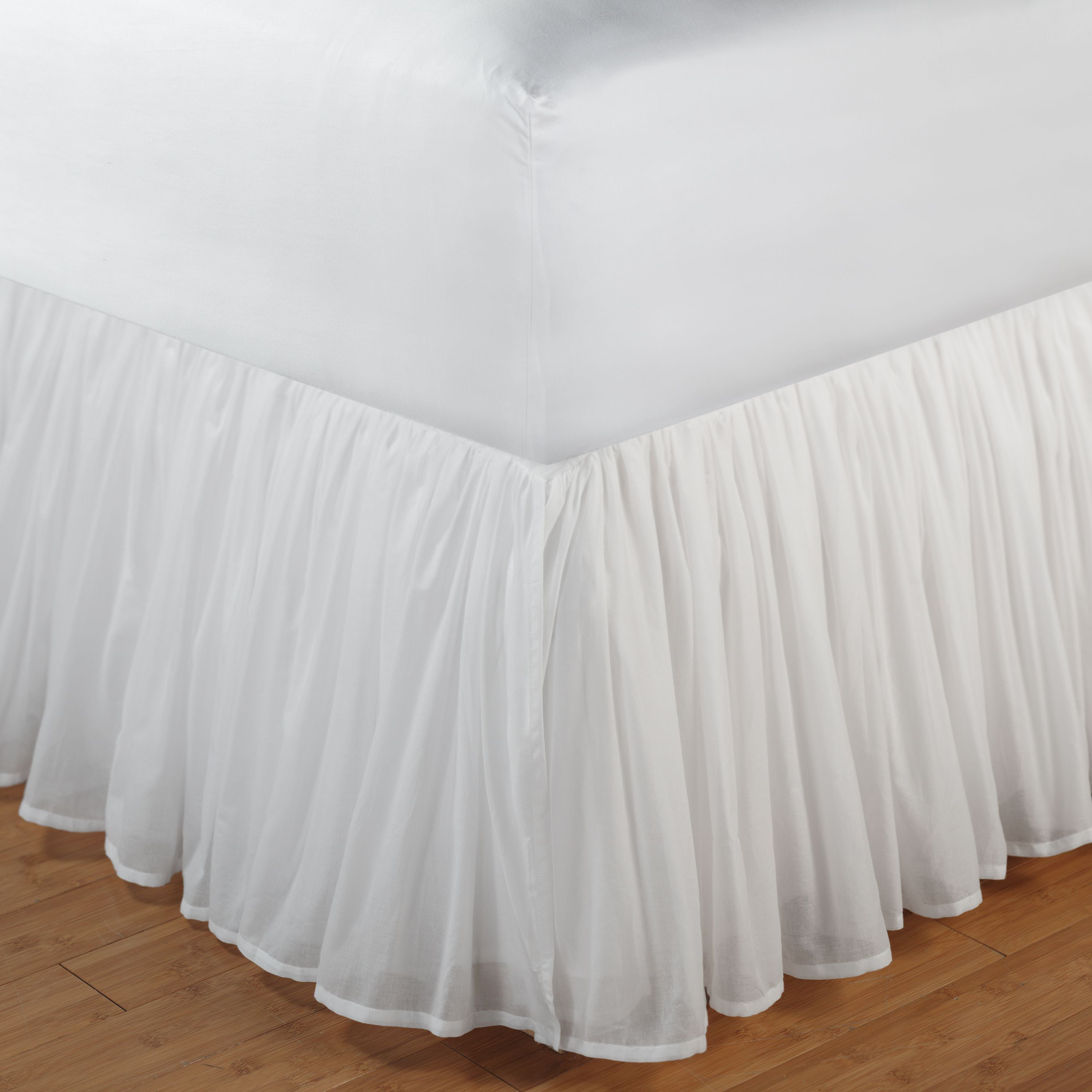 "Cotton Voile White Bedskirt 18"" Queen by Greenland Home Fashions"