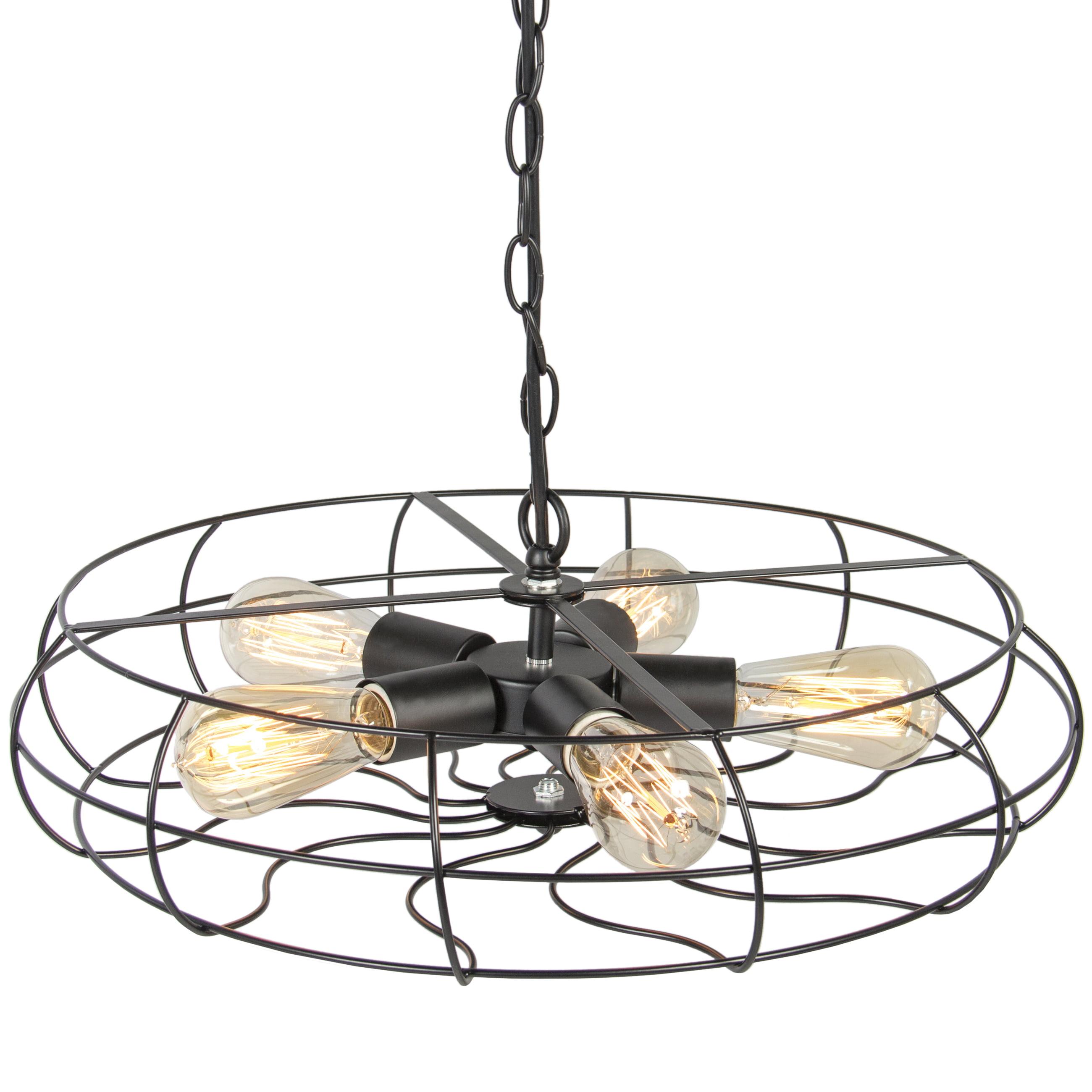 Best Choice Products Industrial Vintage Metal Hanging Ceiling Chandelier Lighting W 5 Lights Black Walmart Com Walmart Com