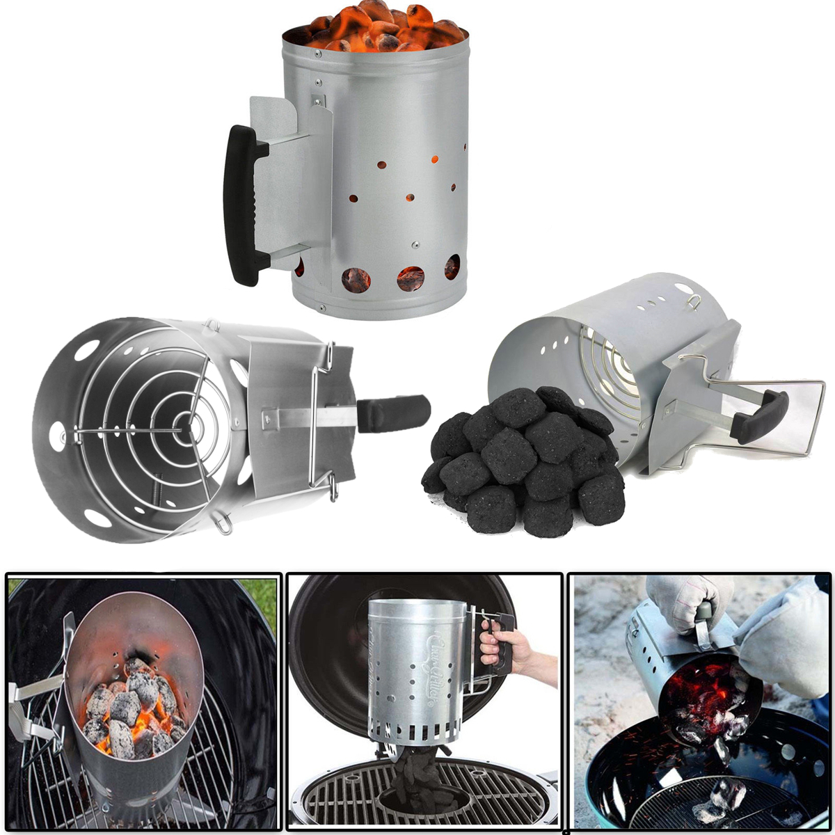 Outdoor Camping Picnic BBQ Barbecue Chimney Charcoal Fuel Starter Charcoal Rapid Quick Grill Fire Starter by