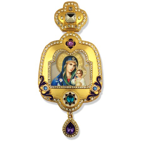 Icon Pendant Virgin Mary Eternal Bloom Icon Pendant With Crown Enameled And With Chain For Hanging On Wall 6 Inch Pendant By World