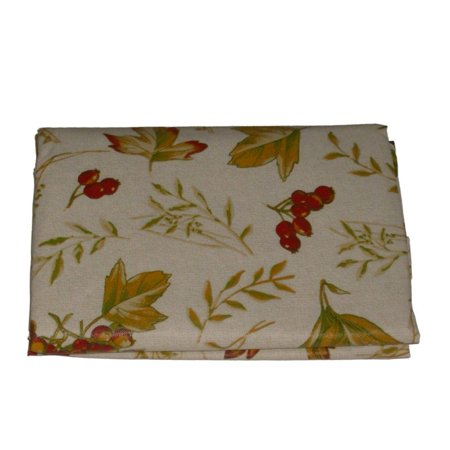 Autumn Leaves Berries Vinyl Tablecloth Harvest Colors Table Cloth 60 Round