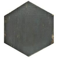 "SomerTile 14.125"" x 16.25"" Lambris Nero Hex Porcelain Floor and Wall Tile (9 Tiles/11.05 sqft.)"