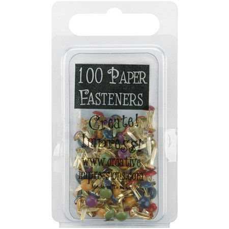- Mini Painted Metal Paper Fasteners 3mm 100/Pkg-Round - Matte Heritage