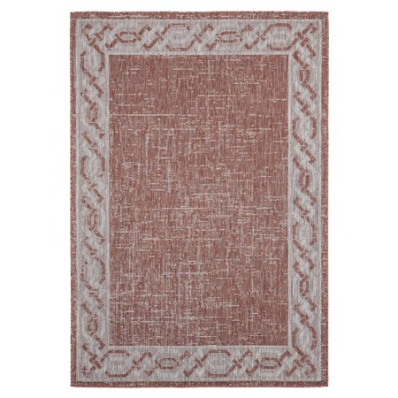 United Weavers Augusta Area Rugs - 3900 10029 Outdoor Terracotta Solid Curves Weaved Scratches Rug