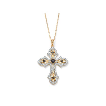 - .45 TCW Genuine Midnight Sapphire and Diamond Accented Cross Pendant 18k Gold over Sterling Silver