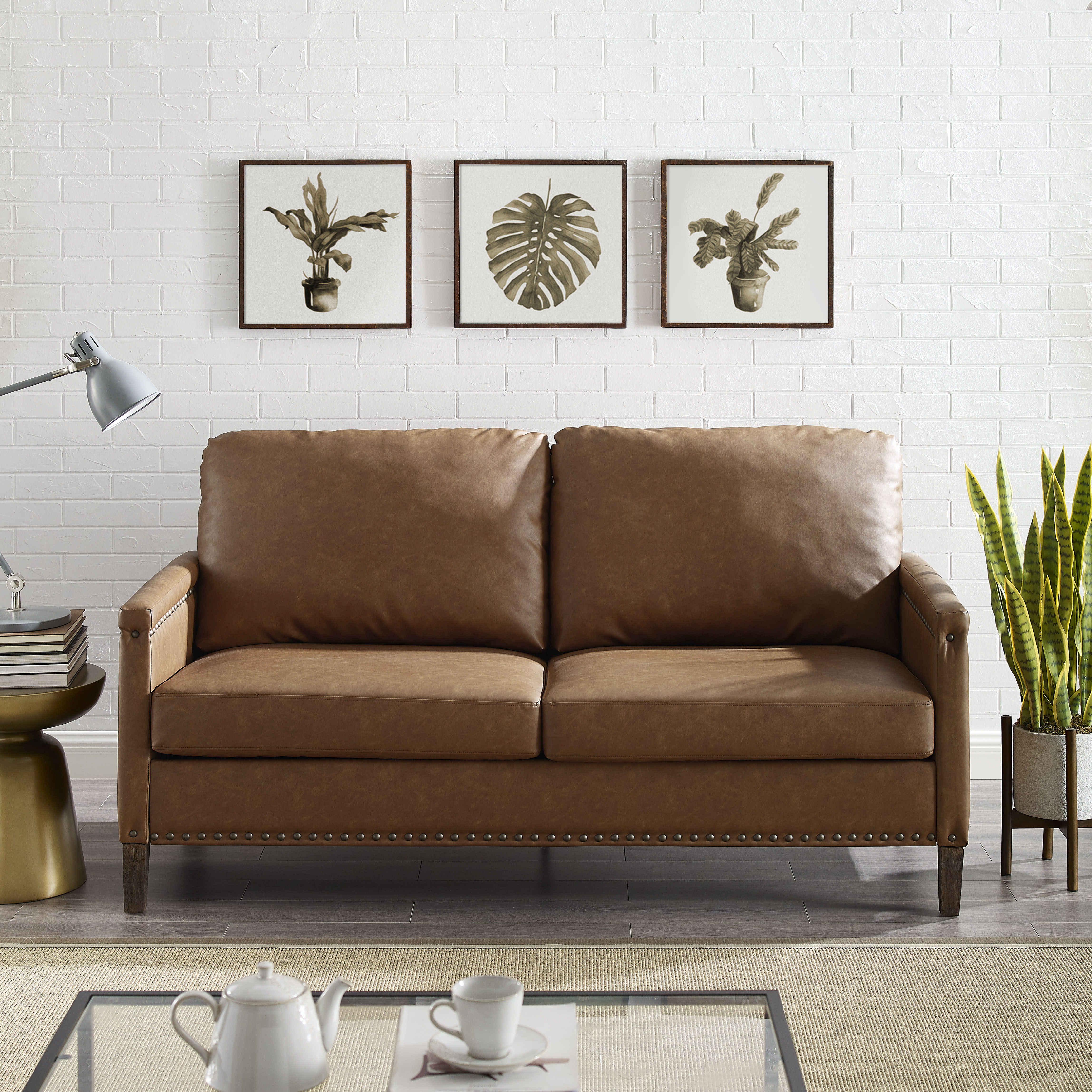Apartment Upholstered Sofa With Nail Head Trim Multiple Colors