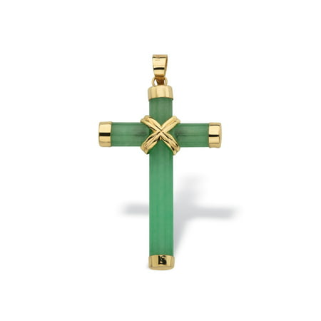 - Genuine Green Jade and 10k Yellow Gold Cross Pendant 1 1/2