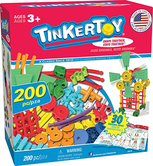 TINKERTOY 30 Model Super Building Set 200 Pieces For Ages 3+ Preschool Educational Toy by