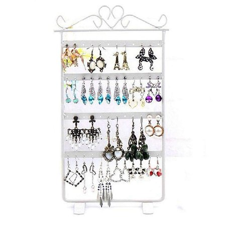 Display Jewelry Showcase Stands - Magik Earrings Necklace Jewelry Stand Holder Rack Tower Tree Metal Display Shelf Copper Showcase (White)