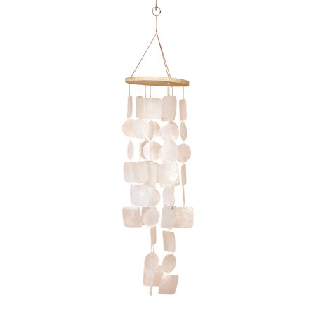 Beautiful Windchime Capiz Shell Wind Chime White 20h, 5.5w