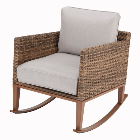Better Homes & Gardens Davenport Patio Wicker Rocking Chair with Beige Cushions ()