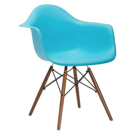 Poly and Bark Vortex Arm Chair Walnut Leg in Aqua