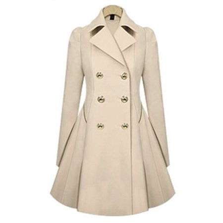 Women Lapel Winter Warm Long Parka Coat Trench Outwear Jacket Long Sleeve Overcoat Double Breasted (Storm Trench)
