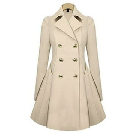 Women Lapel Winter Warm Long Parka Coat Trench Outwear Jacket Long Sleeve Overcoat Double Breasted -