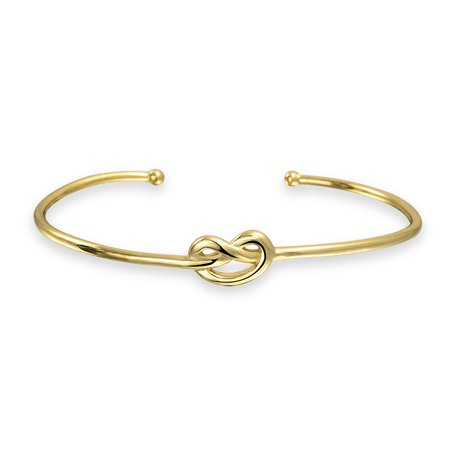 High Polish Cuff - Thin Love Knot Cuff Bracelet Stackable for Women For Girlfriend High Polish 14K Gold Plated 925 Sterling Silver