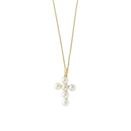 14K Yellow Gold and 4MM Freshwater Pearl Cross Pendant Necklace Pearl Pendant Leather Necklace