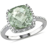 4 Carat T.G.W. Cushion-Cut Green Amethyst and 1/10 Carat T.W. Diamond Sterling Silver Halo Cocktail Ring
