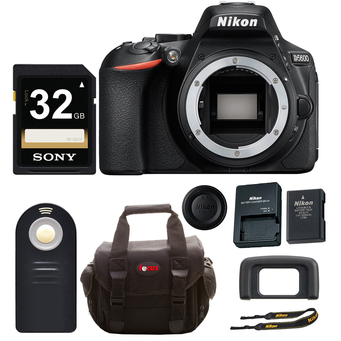 Nikon D5600 DSLR Camera Body + 32GB Card + Wireless Shutter Release + Soft-Shell Gadget Bag