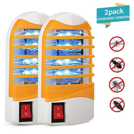 LIGHTSMAX Bug Zapper, Upgraded Mosquitoes Killer, Indoor Mosquito Zapper Bug Light, Plug-in Electronic Insect Gnat Flying bugs Killer Trap, for Bedroom Home Porch with Blue Night Light (Pack of 2)