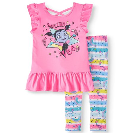 Vampirina Sleeveless Top with Criss Cross Back, Ruffle Trim, And Printed Rainbow Legging, 2-Piece Outfit Set (Little Girls)](50 Outfits)