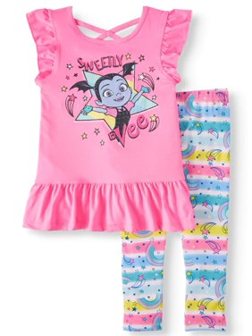 d3a93088ea Product Image Vampirina Sleeveless Top with Criss Cross Back, Ruffle Trim,  And Printed Rainbow Legging,