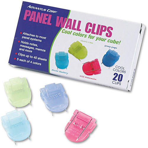 Advantus Fabric Panel Wall Clips, Standard Size, Assorted Cool Colors, 20/Pack