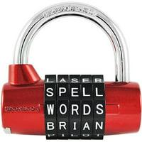 Wordlock Pl-002-Rd 5-Dial Combination Padlock, Red
