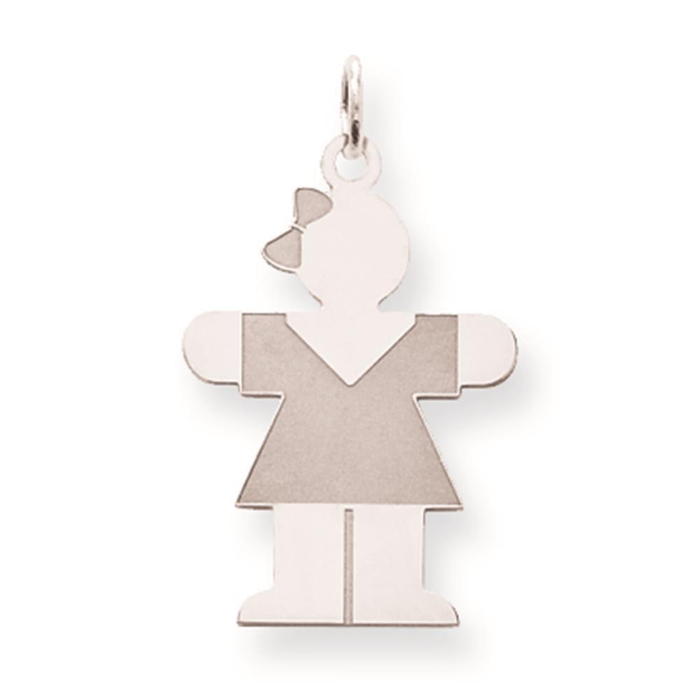 925 Sterling Silver Flat Polished Hugs Kid Charm Pendant