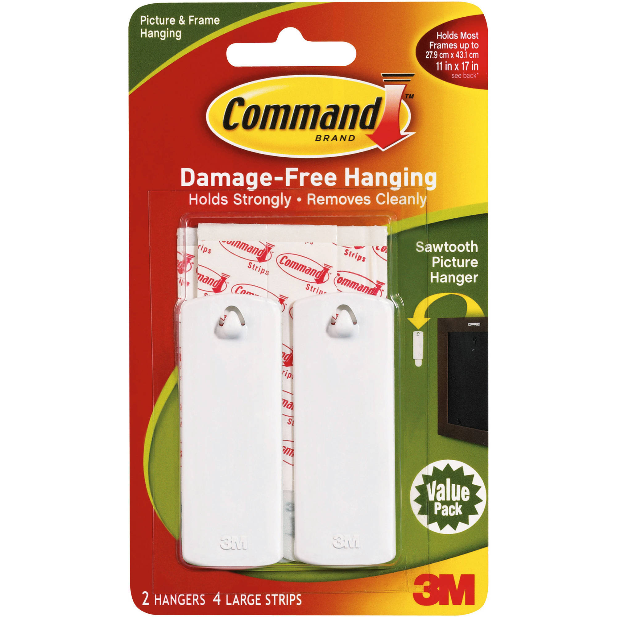 Command Sawtooth Picture Hanger Value Pack, White, 2 Hangers, 4 Strips, 17040VP