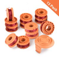 Juslike 13 pcs Line String Trimmer Replacement Spool Compatible for Worx WA0010 Mowing Outdoor Parts with 1X Replacement Cap