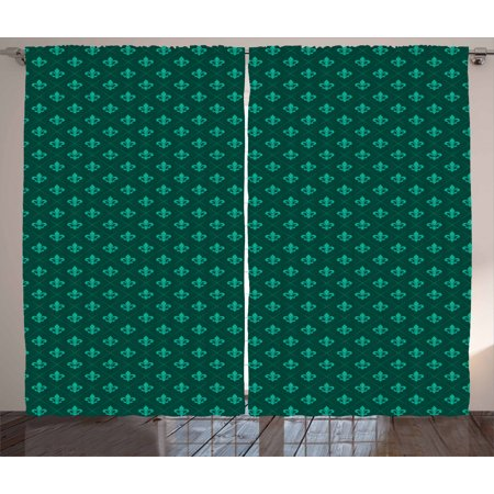 Fleur De Lis Curtains 2 Panels Set, Diagonal Checkered Pattern with Heraldic Symbols Retro Royal French, Window Drapes for Living Room Bedroom, 108W X 63L Inches, Sea Green Jade Green, by Ambesonne Royal Estate Green